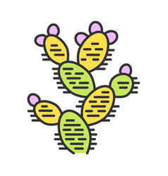 Prickly pear color icon opuntia wild paddle vector