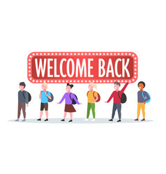 pupils with backpacks standing together welcome vector image
