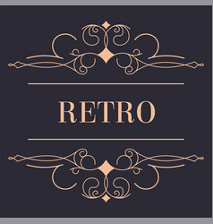 retro ornamental logotype with line and swirls vector image