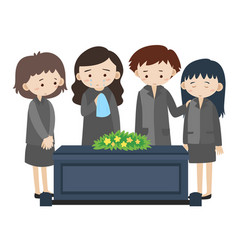 Sad people crying at funeral vector