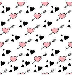 Seamless pattern hearts stylish hipster vector