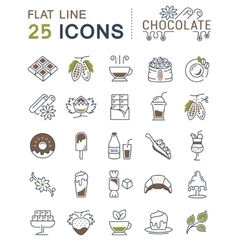 Set Flat Line Icons Chocolate vector image