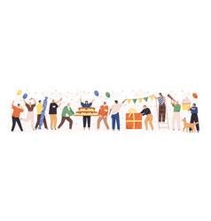 set happy cartoon people having fun at birthday vector image