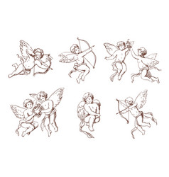 Set of different vintage cupid various flying vector