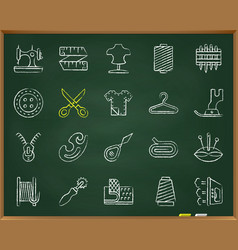 Sewing chalk draw line icons set vector