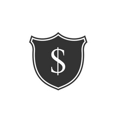 shield and dollar icon isolated security shield vector image