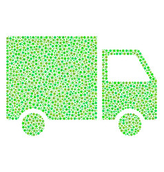 shipment van mosaic of small circles vector image