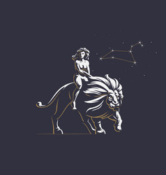 sign of the zodiac leo a woman is riding a lion vector image