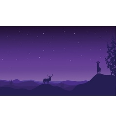 Silhouette of Christmas deer vector image