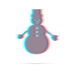 Snowman flat anagliph icon vector