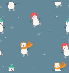 snowmen are skating seamless pattern graphics vector image