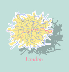 Sticker color map of london united kingdom city vector