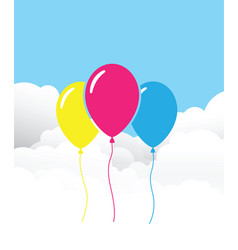 Three balloons on a cloud background vector