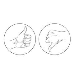 Thumb up thumb down contour icon vector