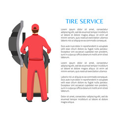Tire service and man fitting car wheel on bench vector