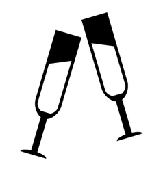Two glasses of champagne icon simple style vector image