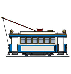 Vintage blue and white tramway vector