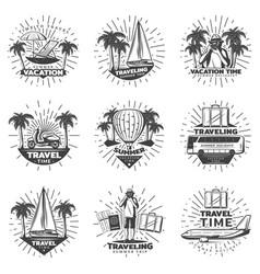 Vintage monochrome traveling labels set vector