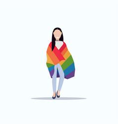 woman holding rainbow flag love parade lgbt pride vector image