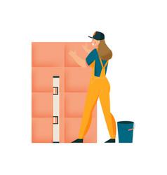 woman tiler icon vector image