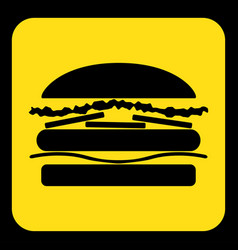 Yellow black information sign - hamburger icon vector