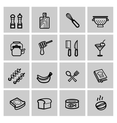 food icons set vector image vector image