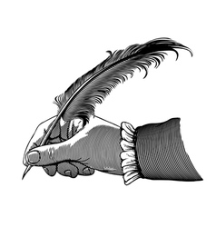 hand writing with a feather vector image