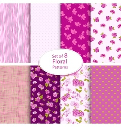 Set of eight seamless floral backgrounds vector image