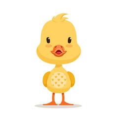 sweet yellow duckling emoji cartoon character vector image