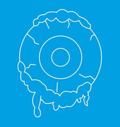 terrible eyeball icon outline style vector image