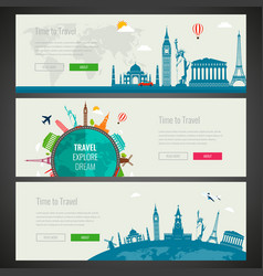 three travel and tourism headers banners with vector image vector image