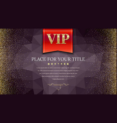 vip or luxury red flag on dark polygonal vector image vector image