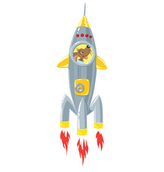 funny dog in rocket vector image