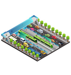 isometric city traffic template vector image