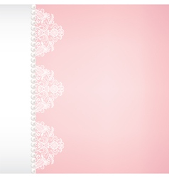 lace and pearl border on pink background vector image vector image