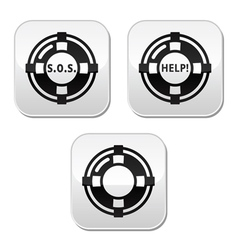 Life belt help sos buttons set vector image vector image