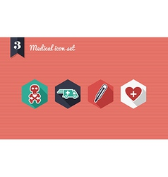 Medical health flat icons set vector