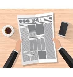 Cartoon businessman hand holding newspaper vector image vector image