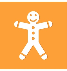 gingerbread man on yellow background vector image vector image