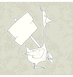 Hand drawn character goose with wooden poster vector