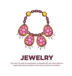 jewelry golden handmade gem necklace flat vector image vector image