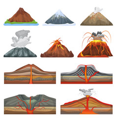 Volcano eruption and volcanism or explosion vector