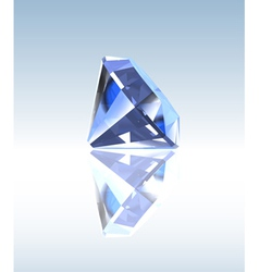 Blue diamond with reflection vector image