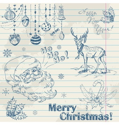 Christmas elements on notebook paper with Santa vector image vector image
