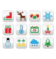 Christmas winter buttons set vector image