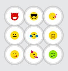 Flat icon emoji set of party time emoticon hush vector