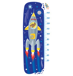 funny dog in rocket meter wall or height chart vector image vector image