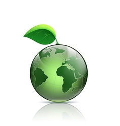 Planet earth with green leaf vector image vector image