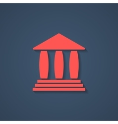red bank or greek colonnade icon with shadow vector image vector image
