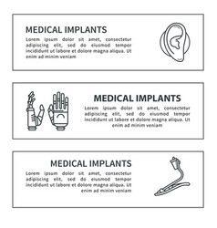 set banner medical prostheses vector image